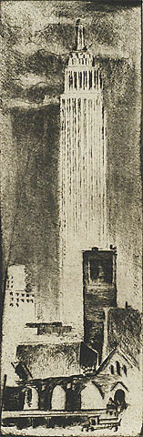 Empire State Building and Church Ruin - WERNER DREWES - drypoint and roulette