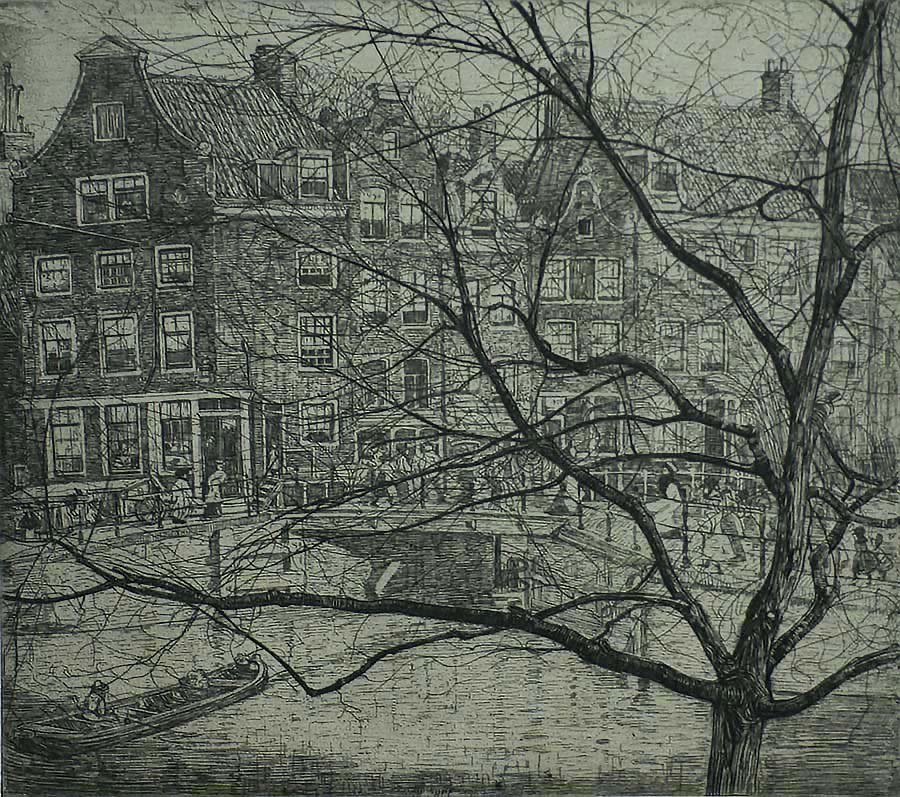 Prinsengracht in Amsterdam  - PIETER DUPONT - etching