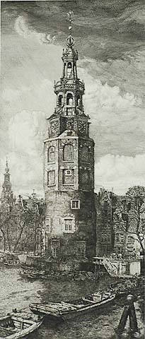 Montelbaans Tower - PIETER DUPONT - etching and engraving