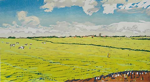 Dutch Landscape -   - woodcut printed in colors