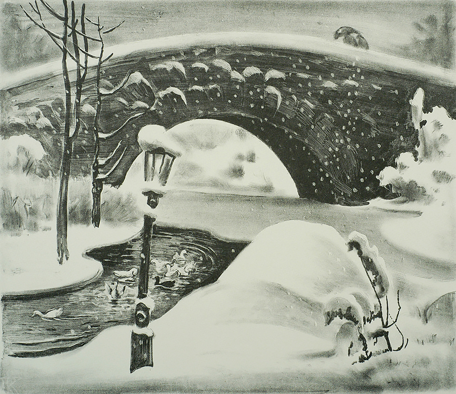 Winter, Central Park - MABEL DWIGHT - lithograph