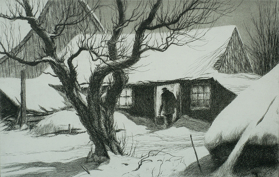 Cow Shed - KERR EBY - etching, aquatint and sandpaper ground