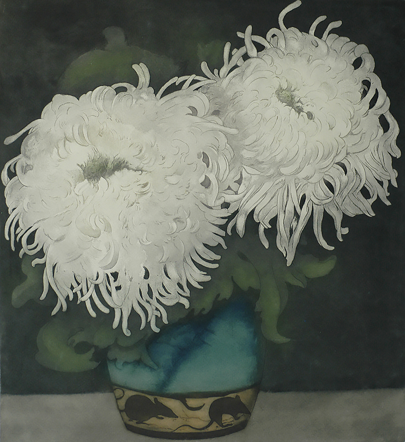 White Chrysanthemum in a Bluegreen Vase (Witte Chrysanten in Blauwgroene vaasje...) - FRANS EVERBAG - etcxhing and aquatint printed in colors