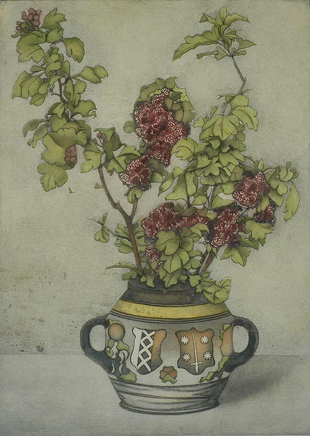 Hawthorn Branches in a Vase with the Coat of Arms of Amsterdam and Haarlem (Takken Meidoorn in een vase met het...) - FRANS EVERBAG - etching and aquatint printed in colors