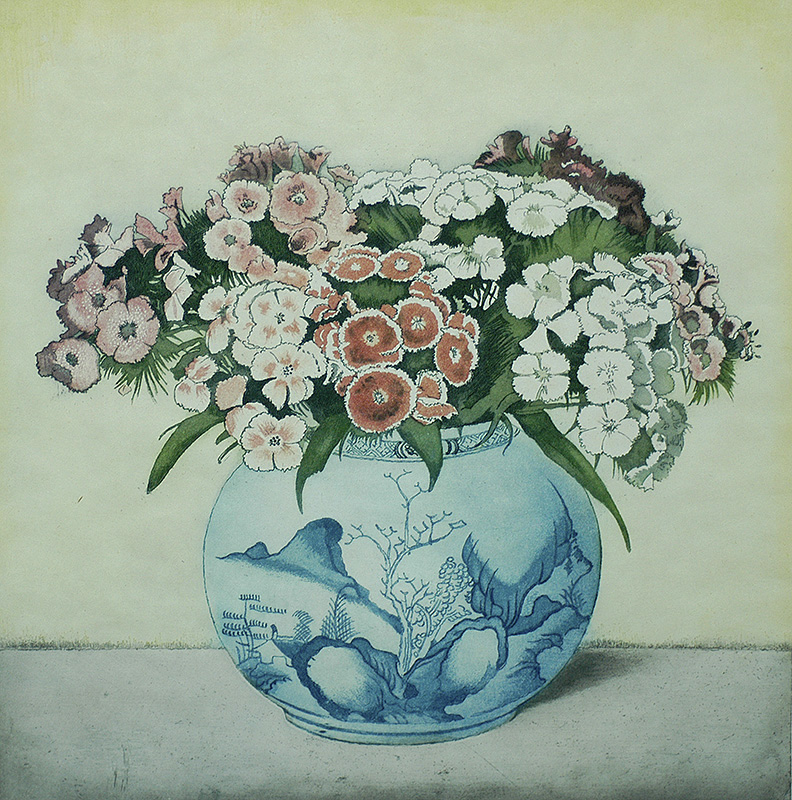 Sweet William in a Blue and White Chinese Pot - FRANS EVERBAG - etching and aquatint printed in colors