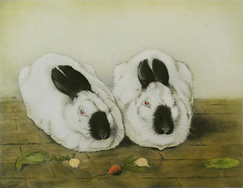Two Rabbits - FRANS EVERBAG - etching and aquatint printed in colors