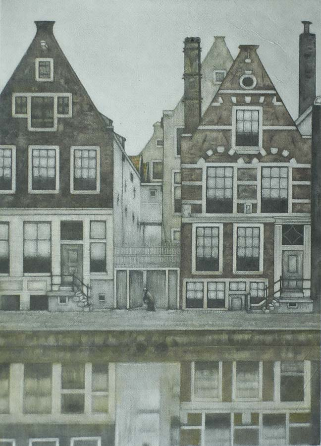 Groenburgwal, Amsterdam - FRANS EVERBAG - mezzotint printed in colors