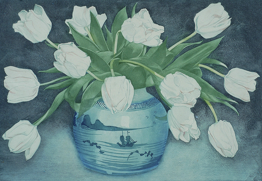 White Tulips in Chinese Ginger Jar (Witte Tulpen in Chinse Gemberpot) - FRANS EVERBAG - etching and aquatint printed in colors