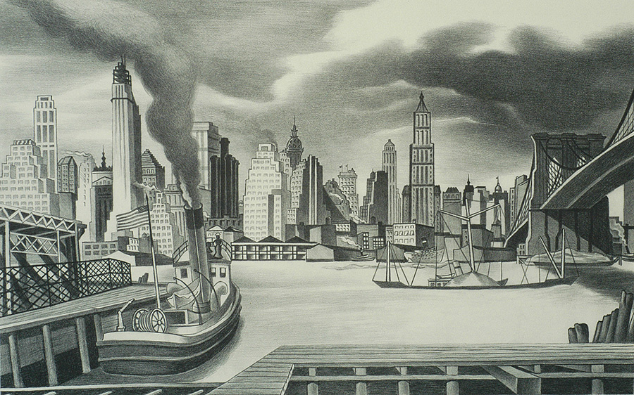 Waterfront, Manhattan - ERNEST FIENE - lithograph