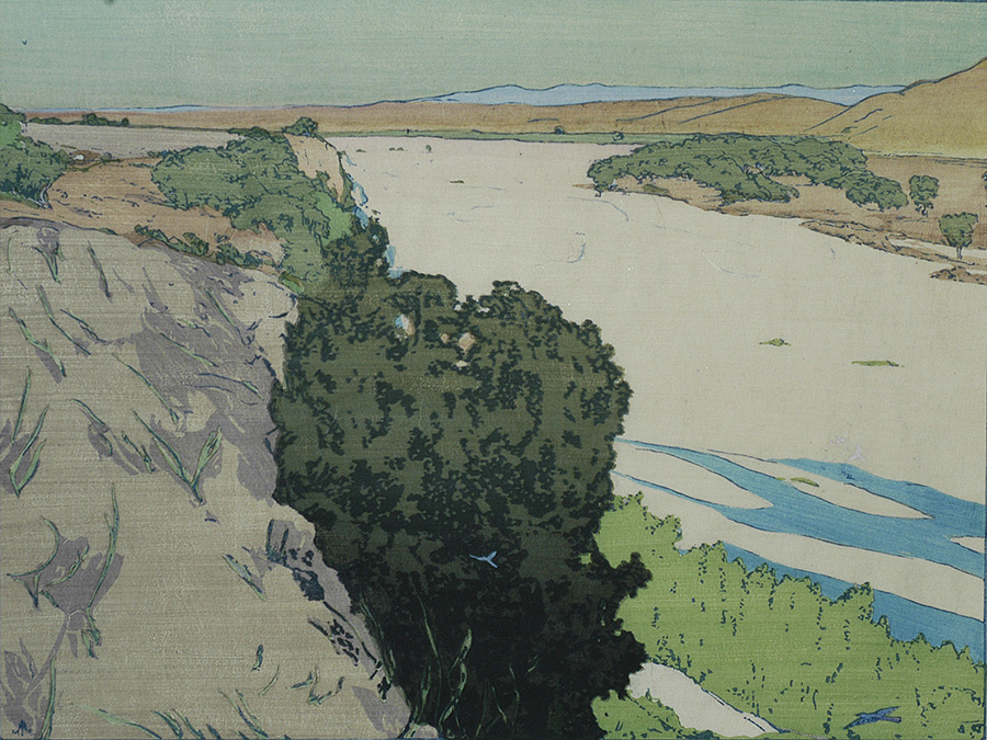 Salinas River - California - FRANK MORLEY FLETCHER - woodcut printed in colors