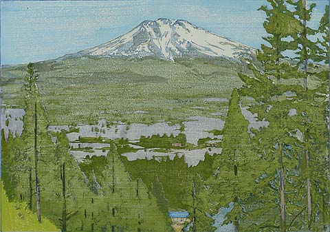 California 2.  Mt. Shasta - FRANK MORLEY FLETCHER - woodcut printed in colors