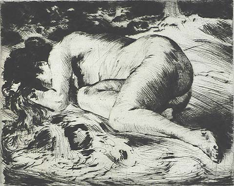 Reclining Nude in a Forest - PHILIPP FRANCK - drypoint