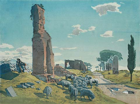 Via Appia I - HANS FRANK - woodcut printed in colors on thin Japanese paper