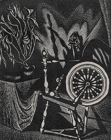 Spinning Wheel - WANDA GAG - wood engraving
