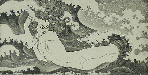 Neptune's Daughter - WANDA GAUG - etching and aquatint