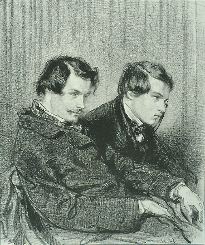 Edmond and Jules de Goncourt - PAUL GAVARNI - lithograph