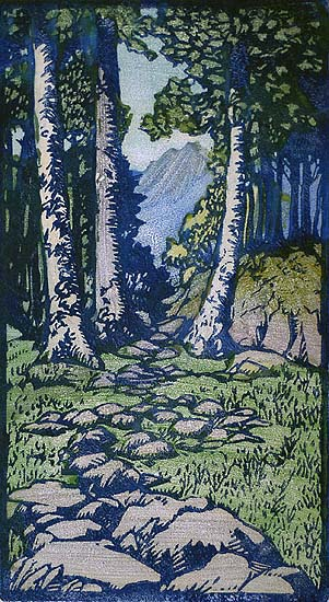 April - FRANCES GEARHART - block print printed in colors