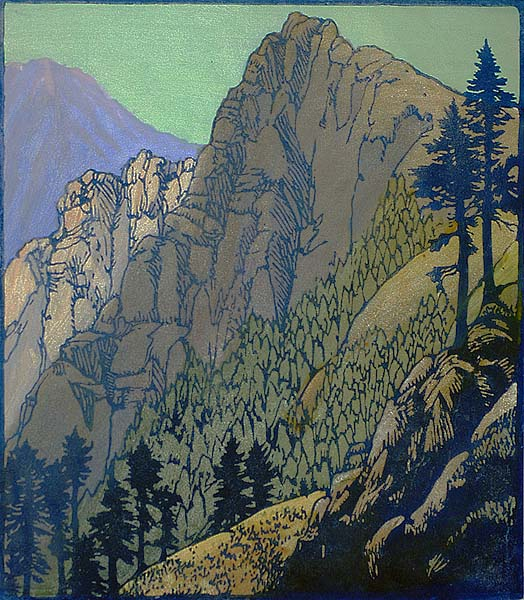 Columbia Crags - FRANCES GEARHART - block print printed in colors