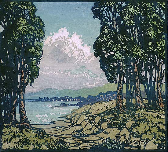 Incoming Fog - FRANCES GEARHART - block print printed in colors