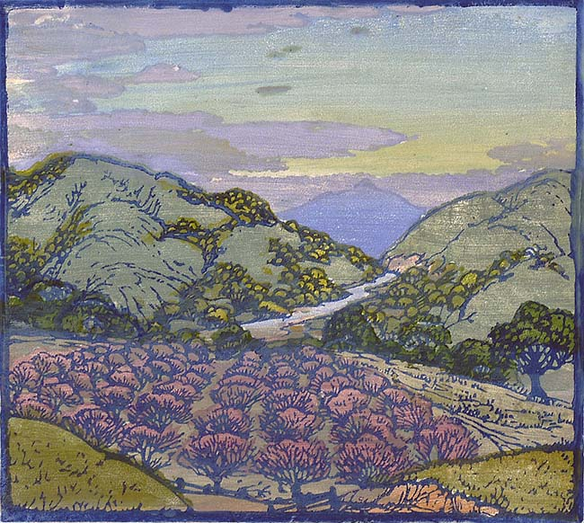 The Peach Orchard - FRANCES GEARHART - woodcut printed in colors