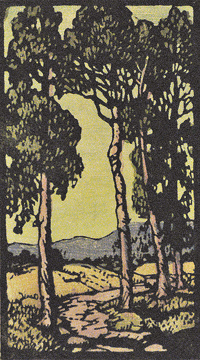 Eucalyptus Grove and Stream - FRANCES GEARHART - block print printed in colors