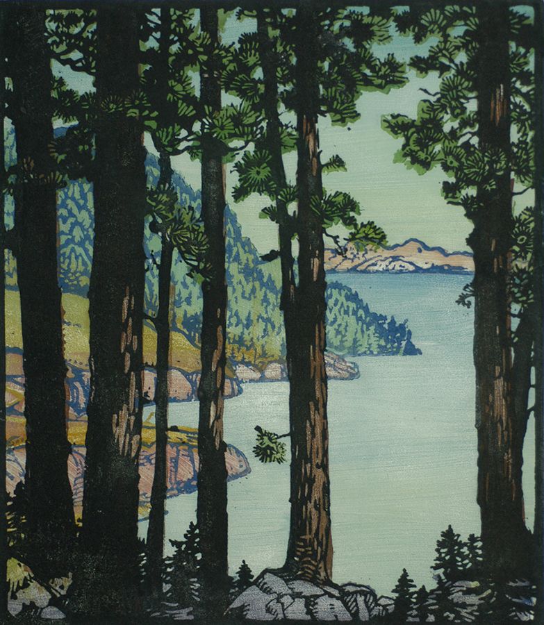 Untroubled Waters - FRANCES GEARHART - woodcut printed in colors