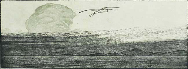 Bird in Flight - WILLIAM GILES - woodcut with relief etching (?) printed in black and grey