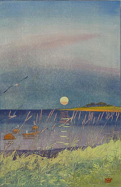 Sunset on the Coast - WILLIAM GILES - relief etching printed from multiple zinc plates