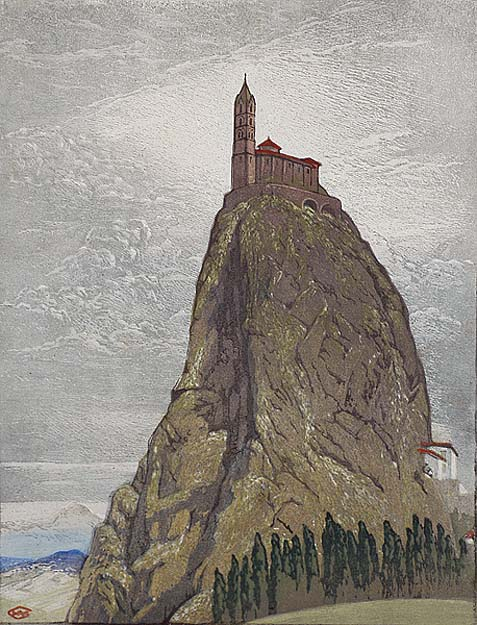 The Rock of Ages (Le Puy, France) - WILLIAM GILES - woodcut