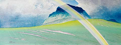 Rainbow, Island of Jura (Hebrides) - WILLIAM GILES - color metal relief etching