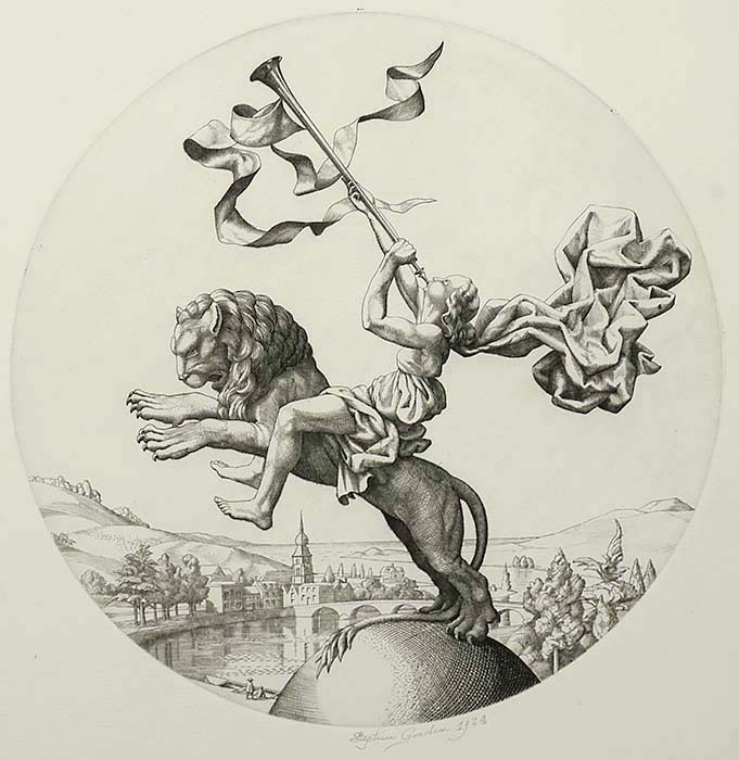 The Rider on the Lion - STEPHEN GOODEN - engraving