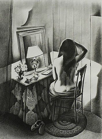 Nude Seated at a Dressing Table - MINNETTA GOOD - lithograph