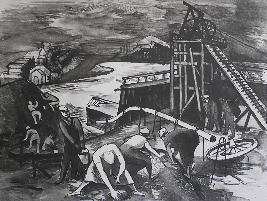 Coal Pickers - HARRY GOTTLIEB - lithograph