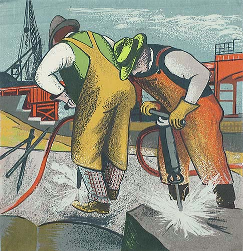 Rock Drillers - HARRY GOTTLIEB - screenprint