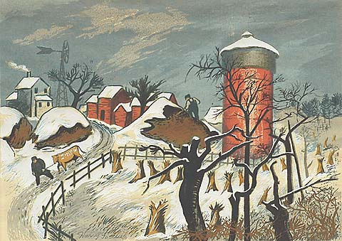 Winter Landscape - HARRY GOTTLIEB - screenprint
