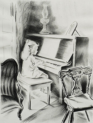 Practicing - FRANCES GREENMAN - lithograph