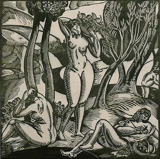 Bucolic Scene with Nudes - ROGER GRILLON - woodcut