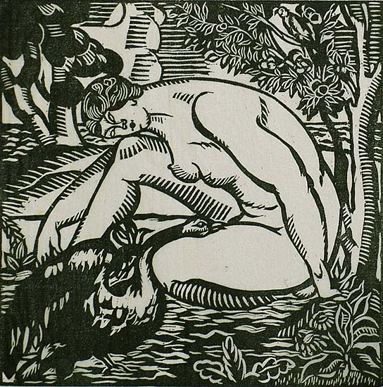 Leda and the Swan - ROGER GRILLON - woodcut