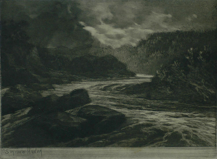 A Salmon River, No. II - SEYMOUR HADEN - etching and mezzotint
