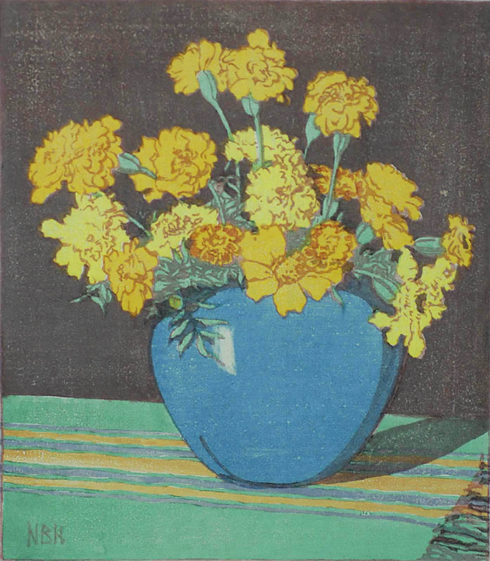 Marigolds - NORMA BASSETT HALL - woodcut printed in colors