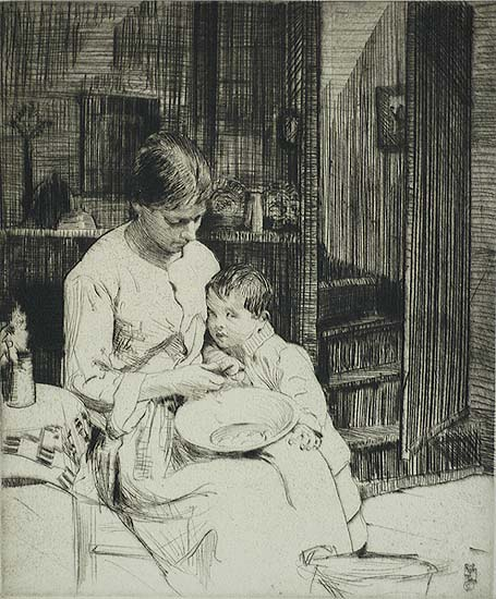 Preparing the Meal - WILLIAM LEE-HANKEY - etching and drypoint