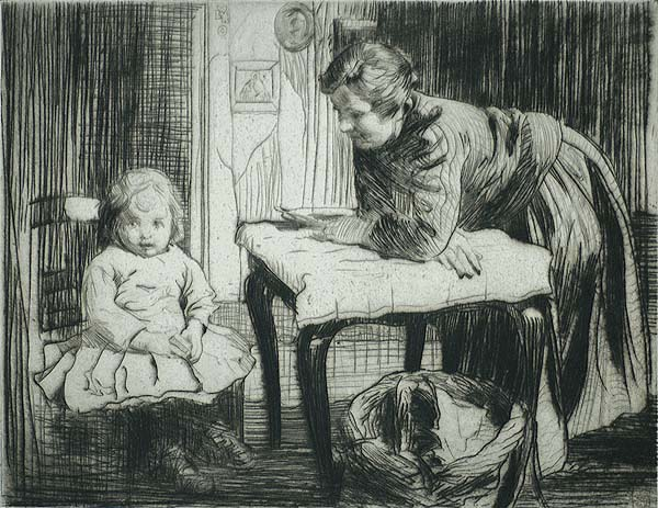 The Lesson - WILLIAM LEE-HANKEY - etching and drypoint