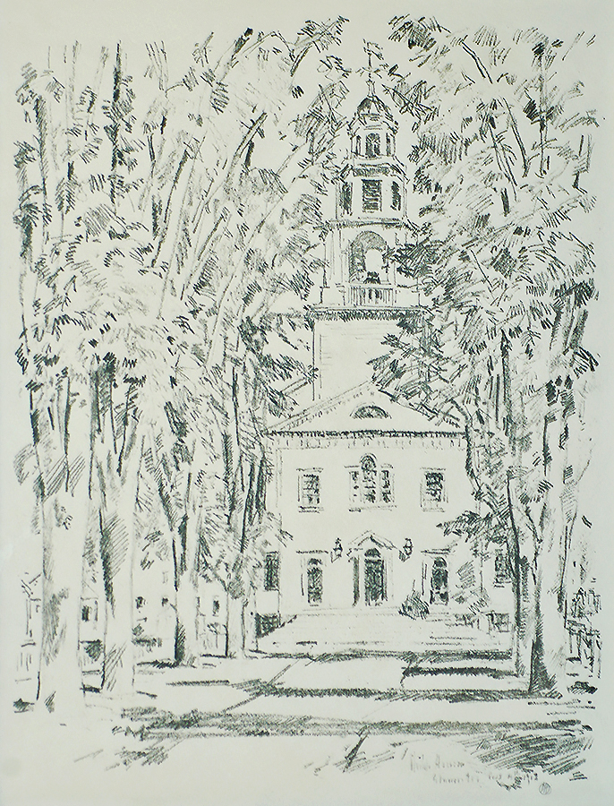 Colonial Church, Gloucester - CHILDE HASSAM - lithograph