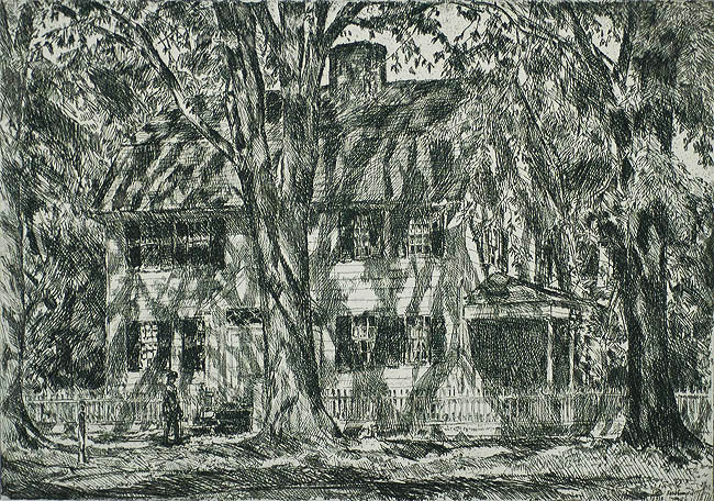The Lion Gardiner House, Easthampton - CHILDE HASSAM - etching