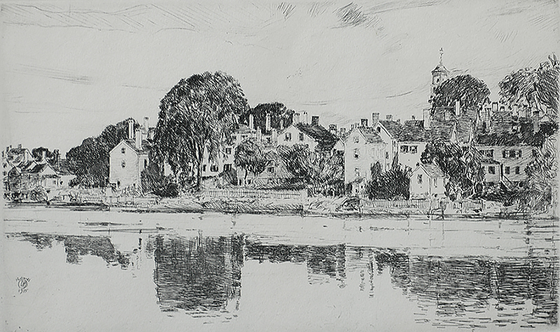 The Chimneys, Portsmouth (New Hampshire) - CHILDE HASSAM - etching