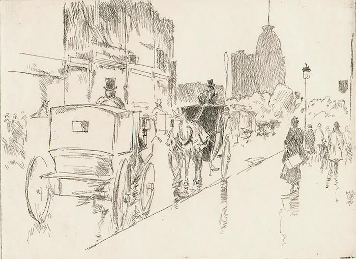 Union Square (New York) - CHILDE HASSAM - etching