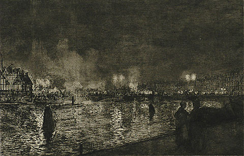 Evening, Amsterdam (Avond te Amsterdam) - GERHARD C. HAVERKAMP - etching