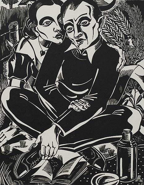 The Lovers (De Verloofden) - ANTOON  HERCKENRATH - linoleum cut