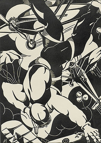 Aerial Meeting (Fliegmeeting) - ANTOON  HERCKENRATH - woodcut