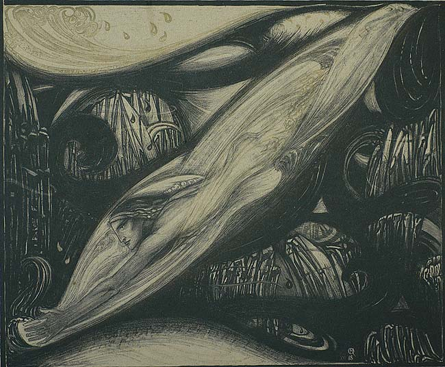 The Pearl Diver (De Parelduiker) - RICHARD ROLAND HOLST - lithograph printed in black and gold on grey paper
